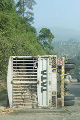 Overturned lorry on Prithvi Highway